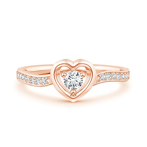Lab Grown Diamond Open Heart Ring with Twisted Shank in 14k Rose - Open Ring Shank