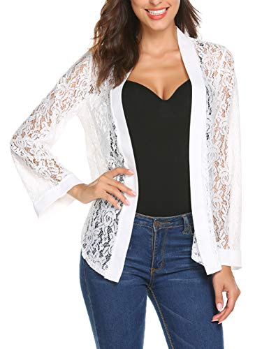 Women's Bell Sleeve Lace Bolero Jacket Cropped Shrug Cardigan Plus Size(White,XXL)