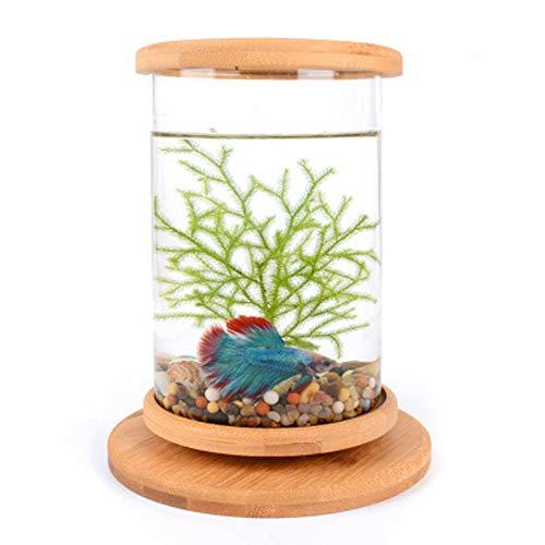Tanque de peces betta peces acuario peces escritorio de casa botella ecológica oficina creativa vidrio templado micro-cilindro dormitorio giratorio tanque ...