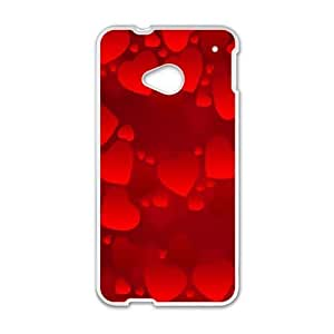 HTC One M7 phone cases White Heart Pattern cell phone cases Beautiful gifts UREN2409609