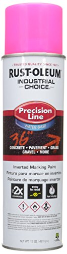 RUST-OLEUM 1861838 M1800 System Precision Line Inverted Water Based Marking Spray Paint, Fluorescent Pink, 17 Oz