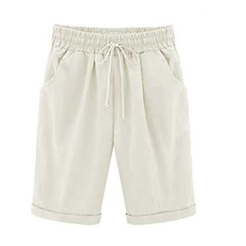 POHOK Size Casual Women Cotton Linen Pants Elastic Waist Summer Slim Lady Cropped Trousers(3XL,Beige)