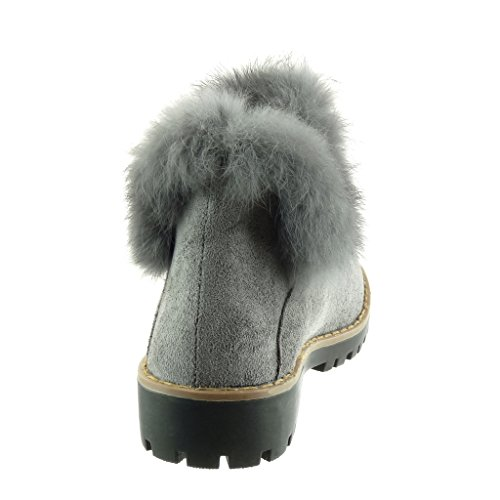 Angkorly - Women's Fashion Shoes Ankle boots - Booty - chelsea boots - fur - finish topstitching seams Block high heel 3.5 CM Grey 92vTdAvUu