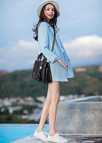NICOLE&DORIS Moda Bolsa de Hombro Para Mujer Crossbody Totes Mensajero Suave PU Blanco Negro