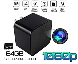Hidden Spy Camera - 64GB SDcard Included, USB Wall Charger | 1080P HD Video | WiFi Wireless | Wide Angle 155° | Home Security Monitor (Indoor Nanny Cam) Night Vision | Motion Detector | Best Mini Cam