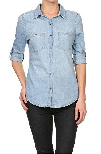caa6e06154c3 Galleon - Instar Mode Women's Basic & Classic Button Down Roll Up Sleeve  Chambray Denim Shirt Top (T26111 Medium Denim, Small)