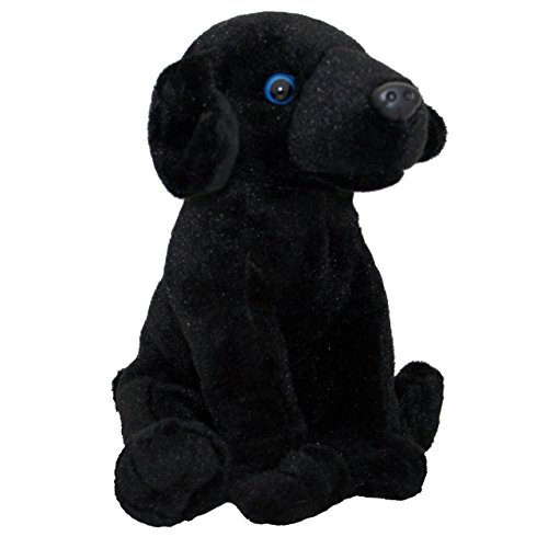 Anico Plush Toy Dog, Stuffed Animal, Black Lab, 8 Inches Tall (Black Plush Dog Toy)