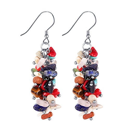 Red Coral Earrings - Cuicanstar Multicolour/Red Stone Cluster Reconstructed Coral Sterling Silver Hook Dangle Drop Earrings (Multicolour)