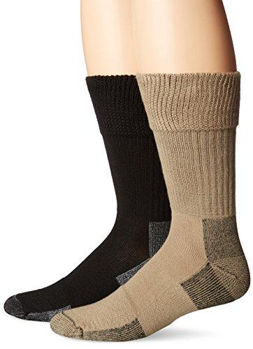 Dr. Scholl's Men's 2 Pack Non-Binding Diabetes and Circulatory Odor Resistant Crew Socks, Khaki/Black, Shoe Size: 11-15