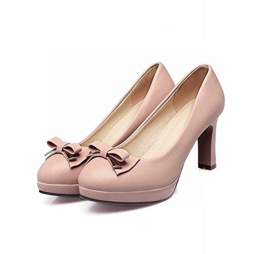 Mee Shoes Damen High Heels mit Schleifen Plateau Pumps Pink