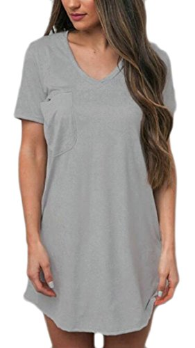 Solid Neck Jaycargogo Sleeve Dress Short V Womens Casual Shirt Tunic Grey Mini Rww1BSx