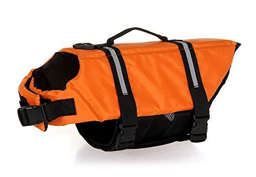 GabeFish Dog Life Jacket Vest Safety Clothes Collar Harness Saver Pet Swimming Preserver Reflective Strip Swimwear Orange X-Small from GabeFish