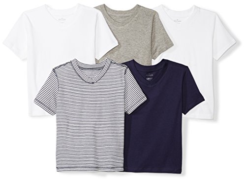 5 Organic V-Neck Short-Sleeve T-Shirts, Navy Sea, 3T ()