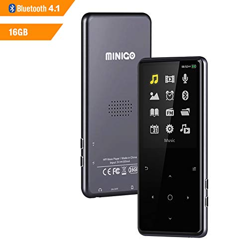 16GB MP3 Player with Bluetooth 4.1, 2.4 inch HD Screen Lossless Sounds Music Player with Speaker, FM Radio/Record Voice/E-Book Playback up to 60Hours, Support TF Card up to 128GB, Space Gery MINIGO