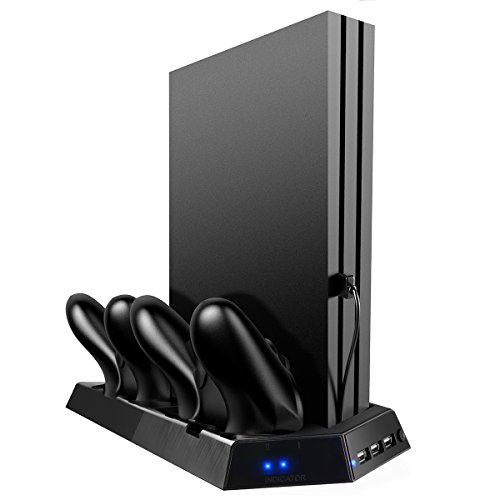 Zeato-PS4-Pro-Vertical-Stand-with-Cooling-Fan-Controller-Charging-Station-with-LED-Indicator-for-Sony-Playstation-4-Pro-Game-Console-Charger-Dock-for-Dualshock-4-Wireless-ControllerBlack
