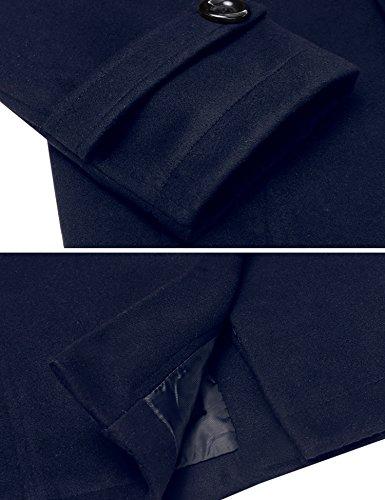 Fila XL Invierno Abrigo navyblau Botón Typ1 Jacket Largo Outerwear de Hombres HOTOUCH Tops S Doble Chaqueta 5gqwF0W4O