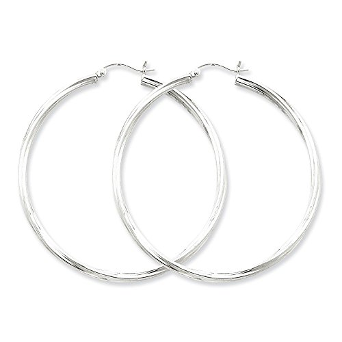Sterling Silver Rhodium-plated Twisted Round Hollow Tube Hoop Earrings Length 53mm