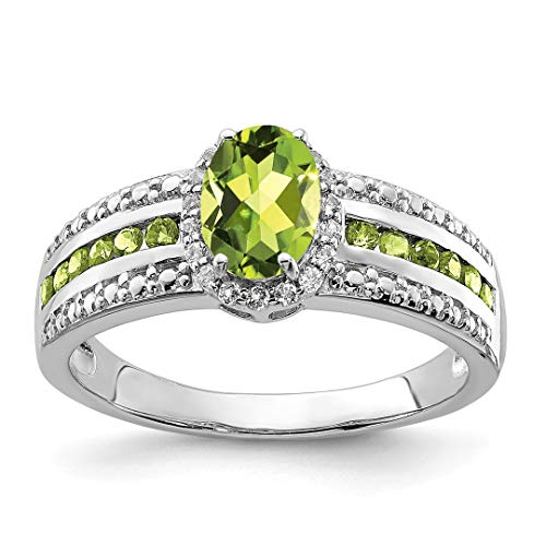 925 Sterling Silver Green Peridot White Topaz Band Ring Size 6.00 Gemstone Fine Jewelry For Women Gift Set