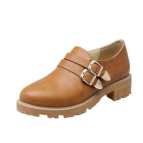 VogueZone009 Women's Pu Low-Heels Solid Zipper Pumps-Shoes Yellow PYFQVCcCFh