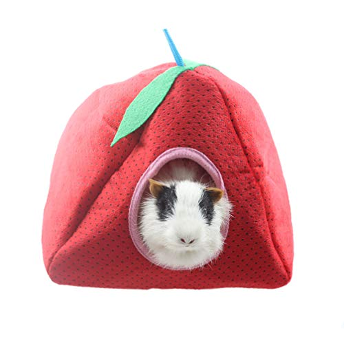 Emours Small Animal Strawberry Tent Bed House with Plush Pad for Hamsters Chinchillas Guinea Pigs Mice Rats and More