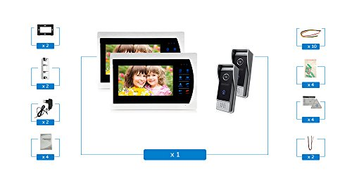 Jeatone 7'' HD Touch button Video Hands-free 2 Monitor Intercom with 2 camera Night Vision Residential Security Kit Home by Jeatone (Image #8)
