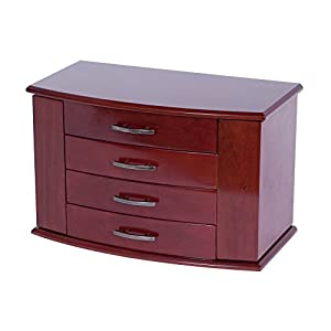 Mele Designs Jewelry Box Sutton Upright Jewelry Box, Dark Burlwood Walnut Finish