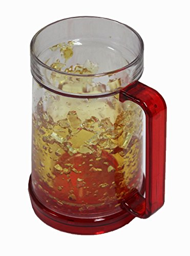 (Freezer Mug - Double Wall -16oz. (Red Handle W/amber Color Gel))