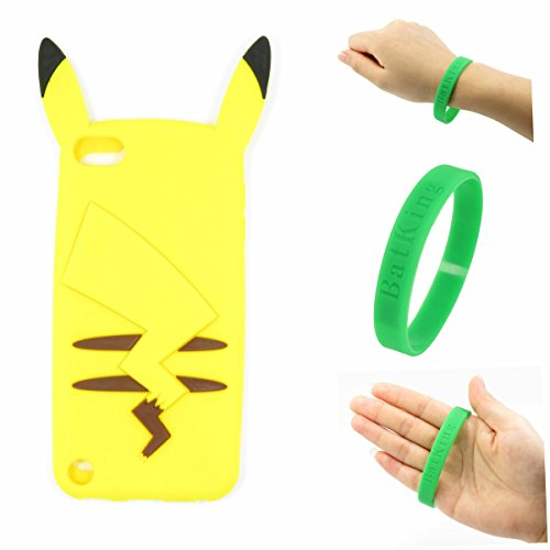 Touch 6 Case iPod Touch 6 Pikachu Silicone Case,Bat King 3D Cute Cartoon Pikachu Soft Silicon Gel Rubber Case Cover Skin for Apple iPod Touch 6(Pikachu Shadow) ()