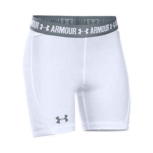 Under Armour Girls' Softball Slider,White /Steel, Youth Small (Softball Shorts Sliding)