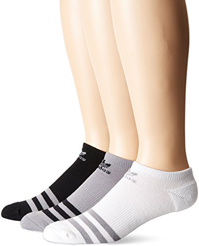 adidas Men's Originals Cushioned No Show Socks (3-Pack), Light Onix/Black/White, Large (Adidas Golf No Show Socks Men)