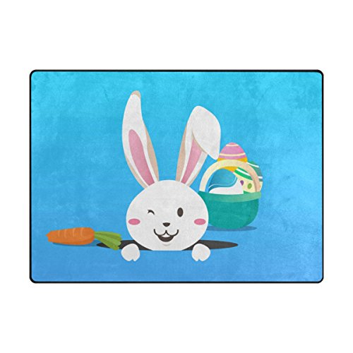ALAZA My Daily Happy Easter Bunny Rabbit Colorful Eggs Area