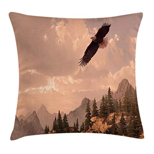 Ambesonne Eagle Throw Pillow Cushion Cover, Nature Photography of Rocky Mountains and Forest with a Bald Eagle Flying Over It, Decorative Square Accent Pillow Case, 18 X 18 Inches, Rose Green