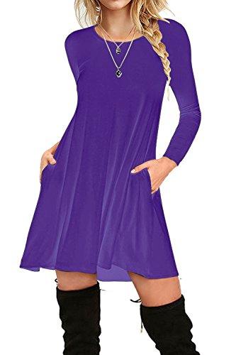 i2crazy Women's Long Sleeve Pockets Casual Plain T-shirt Loose Dresses(05-Long Sleeve-purple,XL) ()