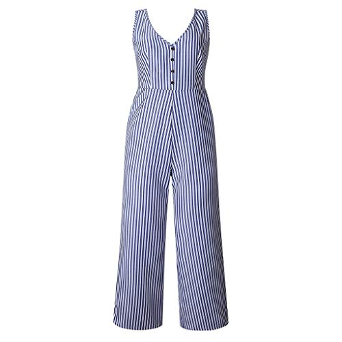 navely Fashion Overalls for Women Striped Jumpsuit Holiday Wide Leg Playsuit Sleeveless Ladies Summer Beach Rompers Women Blue -