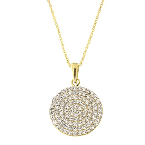 14k Yellow Gold Black or White Cubic Zirconia Reversible Small Disc Pendant Necklace, 18