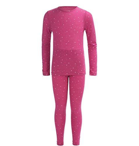 Big Girls Base Layer Thermal Shirt Long Underwear Set Starry Pink X-Large