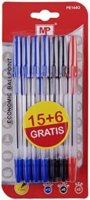 MP PE144O - Pack de 21 bolígrafos, multicolor: Amazon.es: Oficina ...