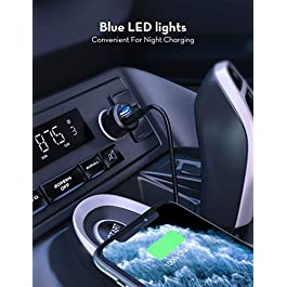 Car Charger, RAVPower Mini 24W 4.8A 12V USB Car Cigarette Lighter Adapter Chargers 2-port with Blue LED for iPhone 12…