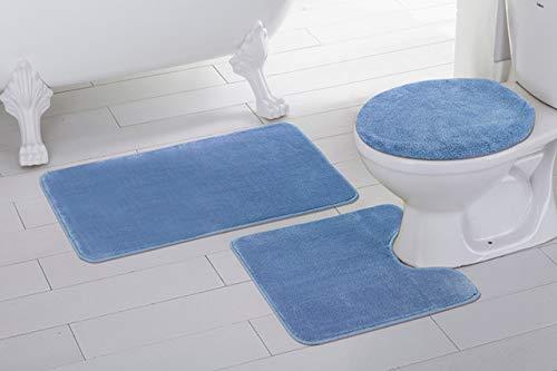 light blue bath rug set - 7