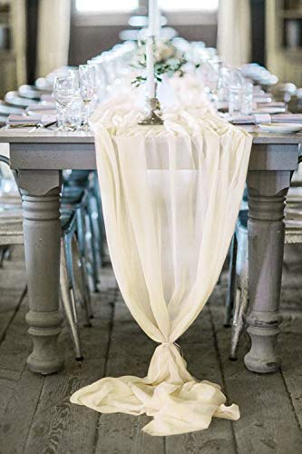 (B-COOL Chiffon Table Runner 27.5x120 inch Ivory Chiffon Overylay Wedding Runners Holiday Table Runners Long Table Runners for Wedding Party Decorations)
