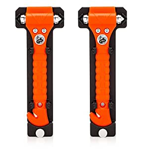 Lifehammer Brand Car Safety Hammer, the Original Emergency Escape and Rescue Tool with Seatbelt Cutter, Made in the Netherlands, Orange (2-Pack)