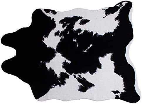 MustMat Faux Cowhide Area Rug Black and White Cow Rug Western Decor for Living Room Approx 4.5 x 6.2
