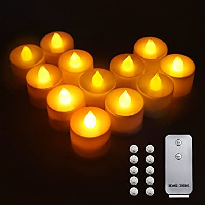 Flameless Candles, Samyoung Flickering Battery Tea Lights LED Candles Ivory Color Realistic Decor Unscented Votive Candles with Remote Control Lights, Pack of 12