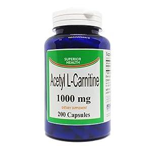 Acetyl L Carnitine Supplement 1000mg per Serving 200 Capsules (ALCAR)