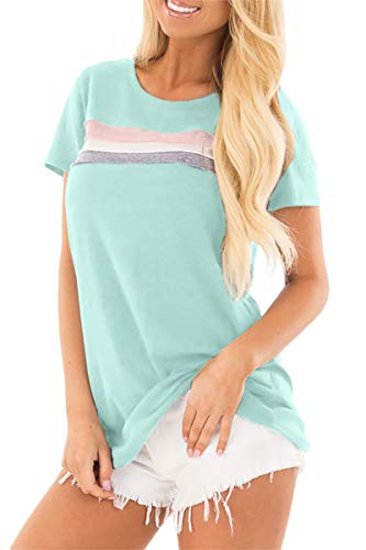 Womens Cotton Short Sleeve Loose Fit Striped Tunic Tops Color Blocked Basic Summer T Shirt Mint XL ()