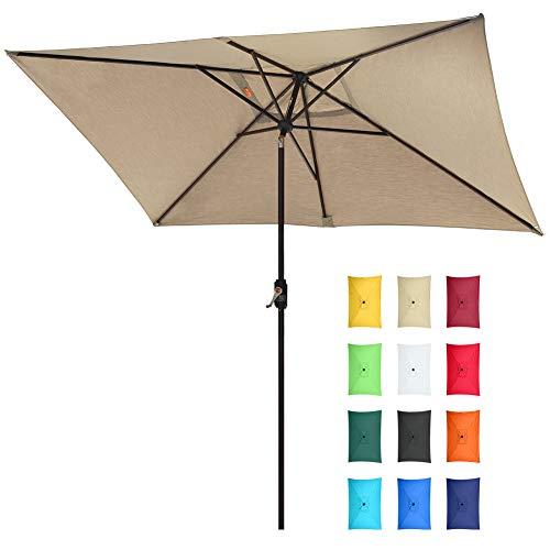 EliteShade Sunbrella 10x6.5 Ft Rectangular Market Umbrella Patio Outdoor Table Umbrella with Ventilation and 5 Years Non-Fading Top,Heather Beige (Rectangular Umbrella Sunbrella)