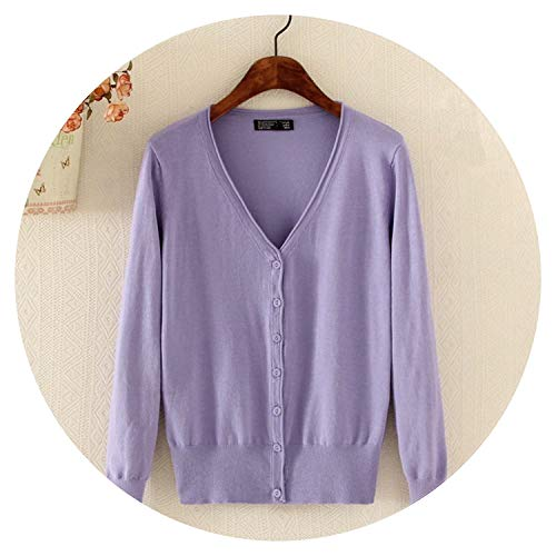 Summer-lavender Women's Cardigan Knitted Sweater Crochet Female Cardigan with Buttons Short Sweater,Violet,XL
