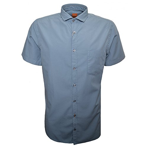 Hugo Boss Men's Hugo Boss Orange Men's Slim Fit Light Pastel Blue Cattitude Short Sleeve Shirt XXL