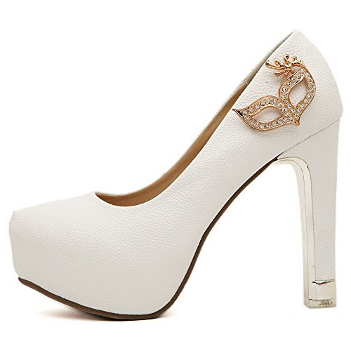 AllhqFashion Womens Round Closed Toe Pull-On PU Solid High-Heels Pumps-Shoes With Crystals White 5i52Sn2t