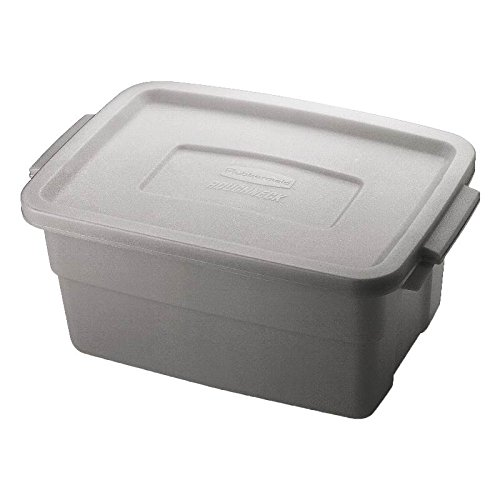 Rubbermaid FG221300STEEL Roughneck Storage Container Box, Polyethylene, 3 Gallon, (Pack of 12)